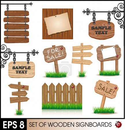 Illustration for Set of vintage wooden sigboards - Royalty Free Image