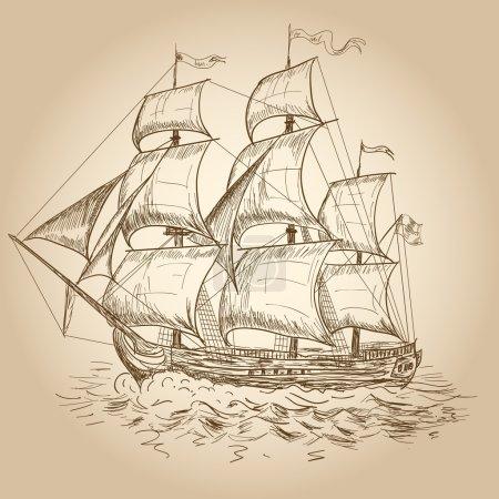 Illustration for Vintage sailboat - Royalty Free Image