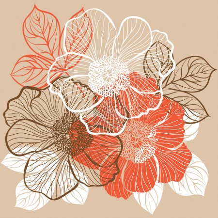 Illustration for Decorative floral background with flowers of peony - Royalty Free Image