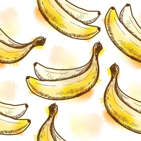 Illustration for Seamless pattern with banana. Painted in watercolor style - Royalty Free Image