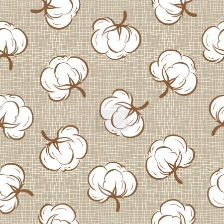 Illustration for Seamless floral pattern with soft cotton buds - Royalty Free Image