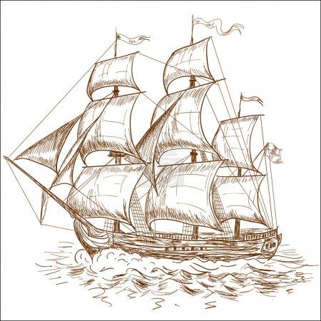 Illustration for Vintage sailboat - Royalty Free Image