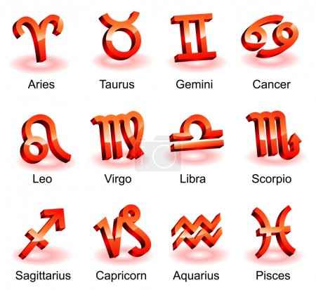 Illustration for Horoscope zodiac star signs. Red shiny icons - Royalty Free Image