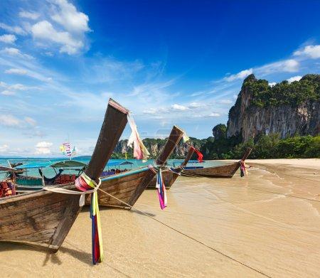 Long tail boats on beach, Thailand