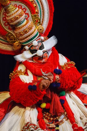 CHENNAI, INDIA - SEPTEMBER 9: Indian traditional dance drama Kathakali preformance on September 9, 2009 in Chennai, India. Performer portrays monkey king Bali (thadi) character in Ramayana drama