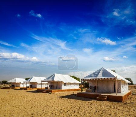 Tent camp in desert. Jaisalmer, Rajasthan, India.