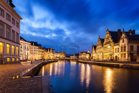 Travel Europe Belgium background - Ghent canal, Gr...