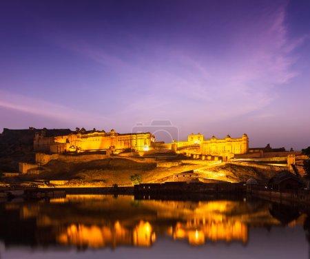 Amer Fort (Amber Fort) at night in twilight. Jaipur, Rajastan,