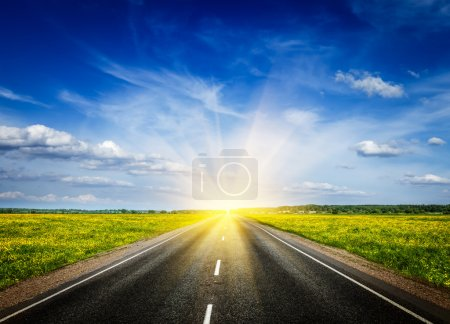 Photo for Travel concept background - road in blooming spring meadow on sunset - Royalty Free Image