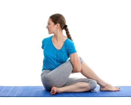 Photo for Yoga - young beautiful woman doing yoga asana excerise isolated - Royalty Free Image