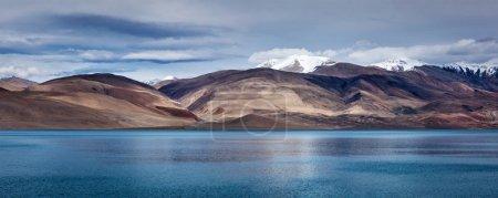 Panorama of Lake Tso Moriri in Himalayas, Ladakh