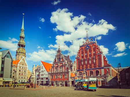 Vintage retro hipster style travel image of Riga T...
