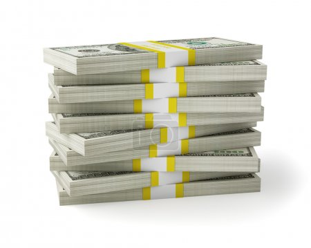 Photo for US dollars banknotes money stack on white - Royalty Free Image