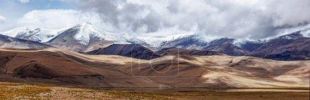 Panorama of Himalayan lake Tso Kar in Himalayas, Ladakh, India