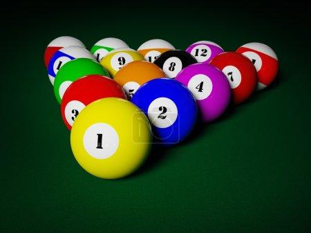 Billiards pool balls on table racked