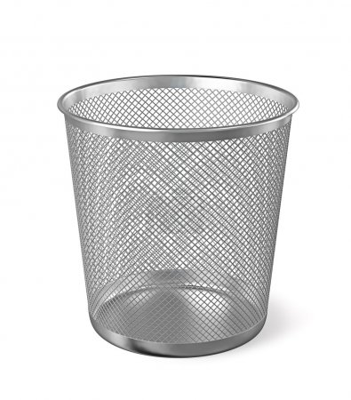 Metal paper bin isolated