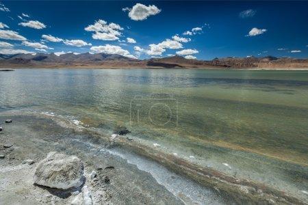Himalayan lake Tso Kar in Himalayas, Ladakh, India