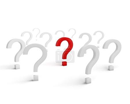 Foto de Concepto de problema solución empresarial estrategia riesgo motivación éxito: símbolo de pregunta rojo rodeado con señales blancas aisladas sobre fondo blanco con efecto de enfoque selectivo - Imagen libre de derechos