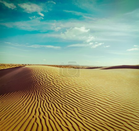 Photo for Vintage retro hipster style travel image of dunes of Thar Desert. Sam Sand dunes, Rajasthan, India - Royalty Free Image