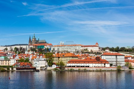 View of Charles bridge over Vltava river and Gradchany, Prague