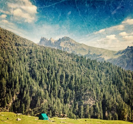 Photo for Vintage retro hipster style travel image of camp tent in Himalayas mountains with overlaid grunge texture - Royalty Free Image