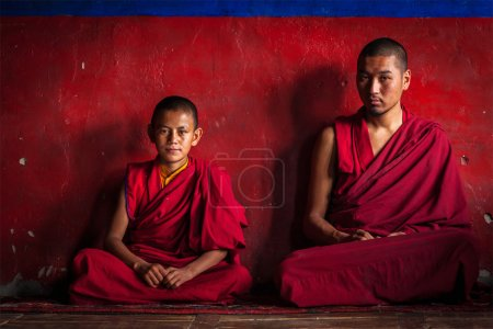 Tibetan Buddhist monks in Diskit monastery. Nubra valley, Ladakh