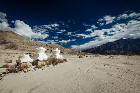 Chorten in Himalayas. Nubra valley, Ladakh, India