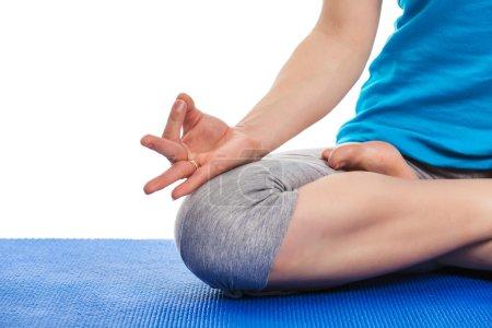 Close up of yoga Padmasana (Lotus pose) with  Chin Mudra