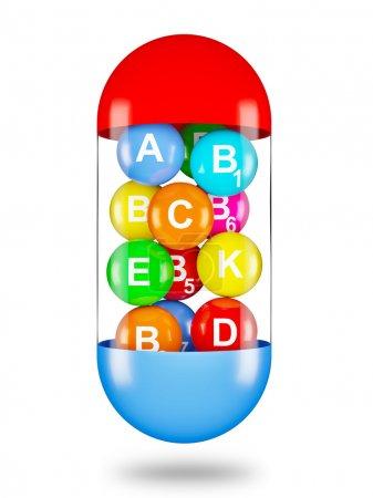 Photo pour Une vie saine concept créatif multi vitamines en capsule - image libre de droit
