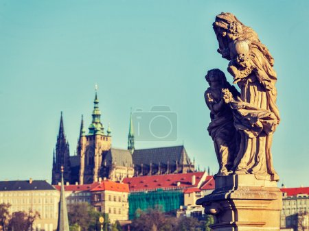 Statue on Charles Brigde in Prague