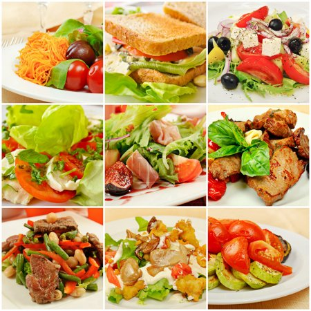 Photo pour Collage (ensemble) de divers types de plats de menu de restaurant - image libre de droit