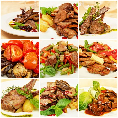 Photo for Collage set from various kinds of restaurant menu dishes - Royalty Free Image