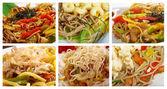 Food set of different noodle .
