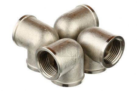 Photo for Four metallic fittings isolated over white background - Royalty Free Image