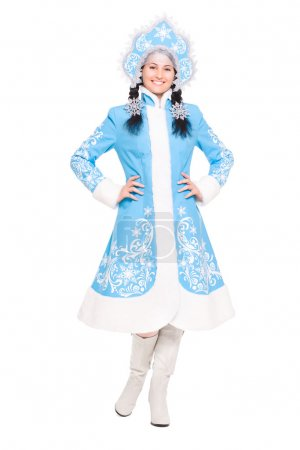 Young brunette in snow maiden costume