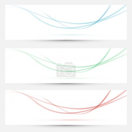 Bright web headers with smoke waves collection. Vector illustration