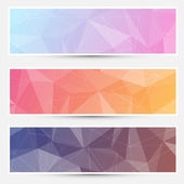 Modern abstract crystal polygonal structure background banners set for web Vector illustration