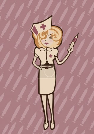 Illustration for Vector illustration of cool Attractive and sexy nurse ready to take care of you - Royalty Free Image