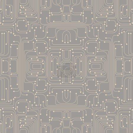 Illustration pour Illustration vectorielle du modèle de carte de circuit comprend des lignes et des flèches sur le fond gris - image libre de droit