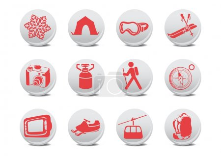 Camping, ski buttons