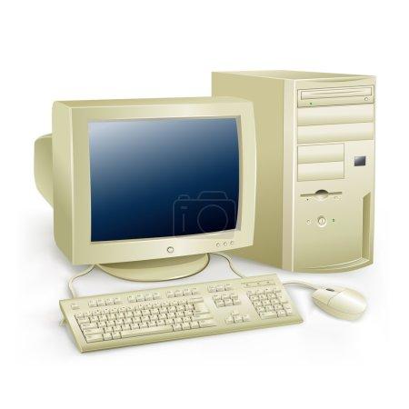 The retro desktop white computer with monitor, key...