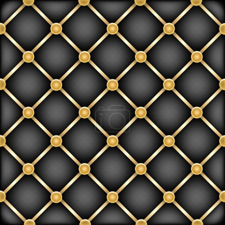 Illustration for The black leather furniture dark mesh texture with golden ribbons - Royalty Free Image
