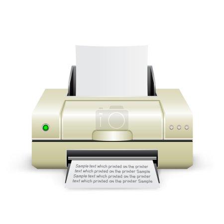 Illustration pour L'imprimante à jet d'encre blanc sur le fond blanc - image libre de droit