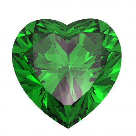 Heart shaped Diamond isolated. emerald