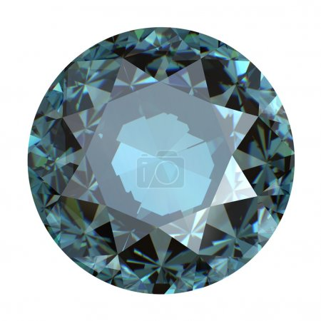 Jewelry gems roung shape on white background. sky blue topaz