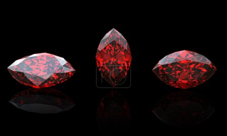 Garnet.Marquis. Jewelry gems on black background...