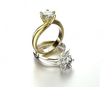Golden and silver Rings with diamonds
