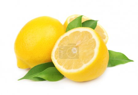 Photo for Lemon with leaves on white - Royalty Free Image