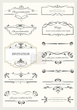 Photo for Calligraphic elements, dividers and frame vintage set. Vector illustration - Royalty Free Image