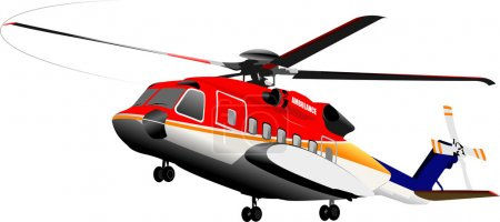 Illustration for Ambulance or army helicopter. Vector illustration - Royalty Free Image